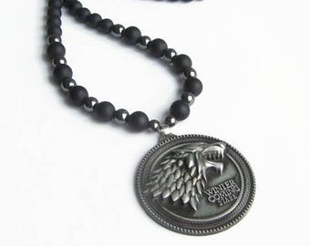 Long black necklace, Men Women beaded gemstone matte stone necklace, Wolf Winter is coming, Game of Thrones pendant