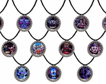 12x FNAF Five Nights AT Freddy's Party Favor Bottlecap necklaces