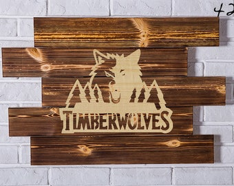 Minnesota Timberwolves Wood Sign Minnesota Timberwolves Wall art Minnesota Timberwolves Gift Minnesota Timberwolves Birthday Minnesota