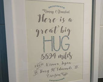 moving Long distance gift, heres a hug, unique and special, personalised