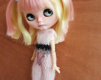 "Garment: ""pink night"" pajamas for dolhouse 1/6 (blythe, jecci five, icy doll,...)"