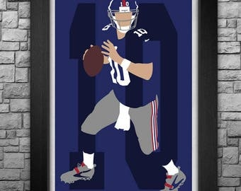 ELI MANNING minimalism style limited edition art print. Choose from 3 sizes!