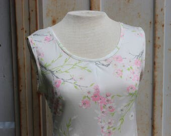 70's Pink Cherry Blossom Slip Dress- M