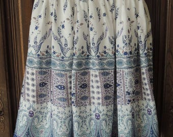 Retro style print cotton skirt