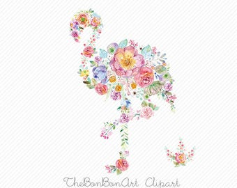 watercolor flamingo clipart. watercolor flower clipart. Summer Wedding Invitation. Hand Painted Watercolor.Flamingo Nursery Art.Bird clipart