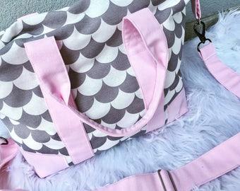 DIAPER BAG / Nappy bag / big diaper bag / weekender / travel bag / girl diaper bag / overnight bag
