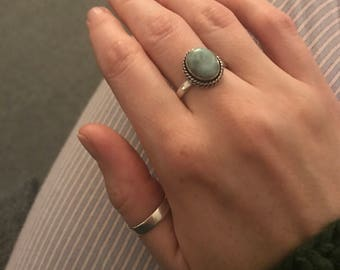 Bohemian Turquoise stone gem sterling silver ring