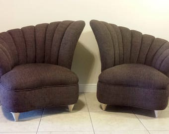 Hollywood Regency Art Deco Style Asymmetrical Channel Back Chairs (Pair)