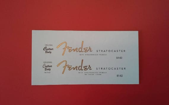 54-62 Fender Stratocaster in Gold Metallic Custom Waterslide Decal
