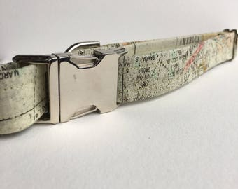 Little Explorer Collar, Dog Collar, Map Collar, Adventure Collar