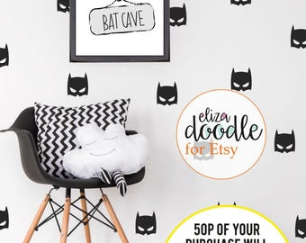 Batman wall decals for boys / bat mask / superhero wall stickers / batman bedroom / boys wallpaper / Vinyl Stickers / fake wallpaper