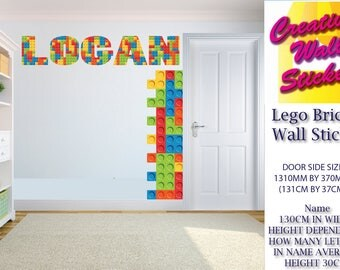 Lego Bricks Kid Bedroom Wall Sticker any name can be done 130cm in width by approx 30cm in height plus 2 door sides