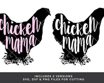 2 Chicken Mama - Chicken SVG - Chicken Shirt SVG - Country SVG - Farm Animal svg - Chicken Silhouette