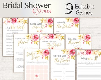 Bridal Shower Games, floral, Editable Bridal Shower Games Package Set Bundle , Editable games, Bridal Shower Games gold, Floral Game Set,