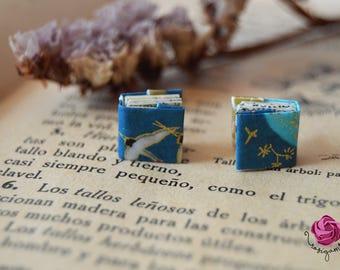 Book earrings,origami earrings,paper earrings,japanese earrings,gift writer,geometric earrings,japanese tent,blue,green earrings,gift woman