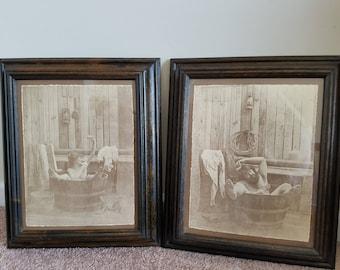R. Hendrickson Sepia Bathtub Prints