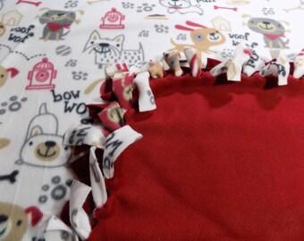 Happy Puppies Hand Tied Fleece Blanket