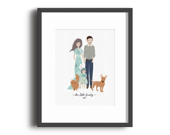 Custom Family Portrait Print, Housewarming, Bridal Shower, Baby Shower, Birthday, Valentine's Day