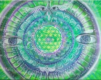 70 x 50 cm ORIGINAL canvas flower of life-psychedelic art