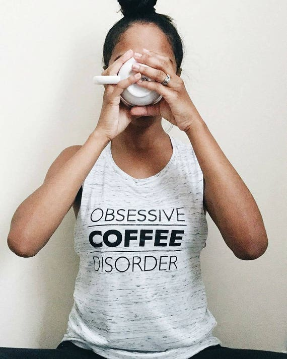 OBSESSIVE COFFEE DISORDER, White Marble Tank, ocd tee, Coffee Tee, Coffee T, Coffee Tshirt, Coffee Gift, Coffee Shirt