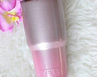 Rose Gold Ombre Yeti / Valentines Day Gifts for Her / Glitter Tumbler / Powder Coated Yeti / Ombre Yeti Rambler / Glitter Yeti / Ozark Trail