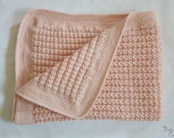 Alpaca wool pink baby blanket