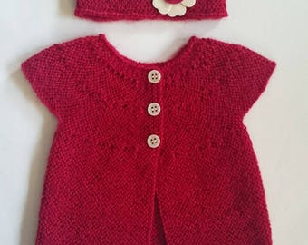 Shirt and baby alpaca red - 3 months headband