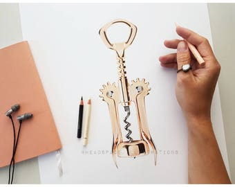 Gold Wine Corker Opener - Colored Pencil Art Print by Headspace Illustrations