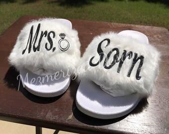 Fur Bridal Slides