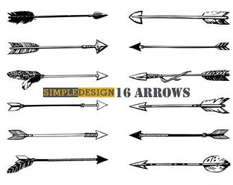 Arrows clip art, tribal arrow clipart,hand drawn arrows, doodle drawing tribal, boho, arrow.