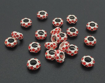 20pcs Silver Plated Rhinestone Crystal Large Hole Beads,11mm*5mm Crystal European Beads