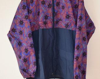 90s Vintage Black/Purple/Red Graphic Floral Print Windbreaker