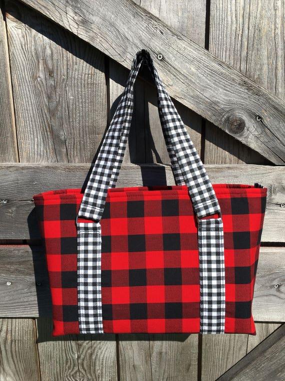 Buffalo Plaid Red Amp Black Hand Bag Tote Purse Laptop Bag