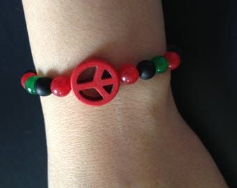 Bracelet are with peace and love Red