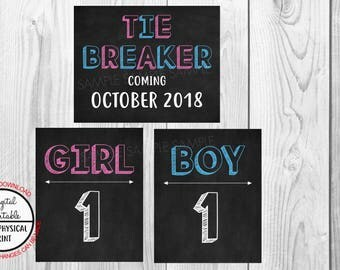 Tie Breaker Pregnancy Announcement Sign, Pregnancy Reveal, Printable, Pink or Blue, Instant Download, Chalkboard Sign, due October 2018
