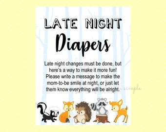 Late Night Diapers Sign, Diaper Thoughts Printable, Late Night Diaper Message, Baby Shower Party, Woodland Design style