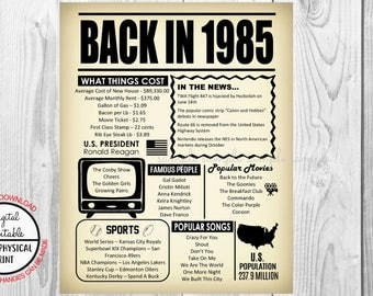 33 Years Ago Back in 1985, 33rd Birthday Poster Sign, Back in 1985 Newspaper Style Poster, Printable, Instant Download, 33 years ago facts