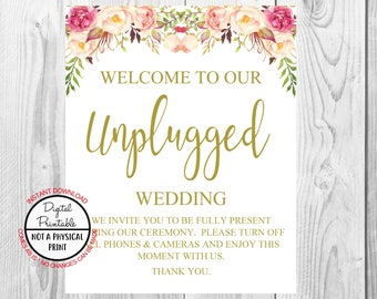 Unplugged Ceremony Sign, Vintage Gold Floral Boho Sign, Flower Boho Unplugged Wedding Sign, Printable, Instant Download, 8x10, 11x14, 16x20