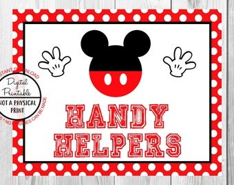 "Handy Helpers Sign, Mickey Mouse Birthday Party Sign, 8""x10"" Printable, Instant Download"