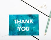 Thank You Cards // 1 pack / 5 pack / 10 pack // A6 Greetings Card // White Block Letter Blue/Green Watercolour Cards