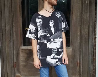 Vintage 1990s 90s James Dean black and white distressed rebel tee men's size XL t shirt grunge Hollywood