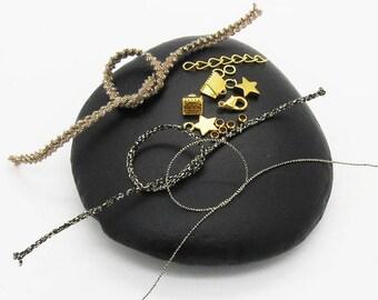 Kit bracelet Hematite multi strand taupe / black gold