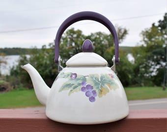 Vintage White Enamel teapot with Purple Handle/ Vintage White Tea Kettle
