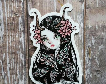 Winged - 3 Inch Die Cut Weatherproof Vinyl Sticker /Decal from Drawlloween /Inktober 2017 from Villain prompt, for Planners Laptops Gift
