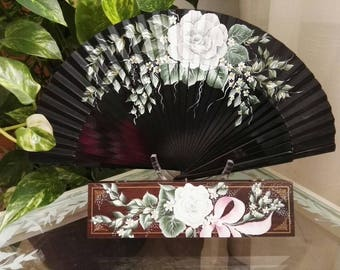 Fan and case, hand painted fan