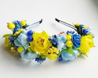 Floral crown Flower headband Hair Vine Bridal headband  Flower crown Flower wreath Hair band Headwear Festival Garland Wedding circlet