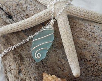 Handmade in Hawaii, Genuine surf tumbled sea glass. Wire wrapped necklace, Hawaiian Beach glass jewelry.