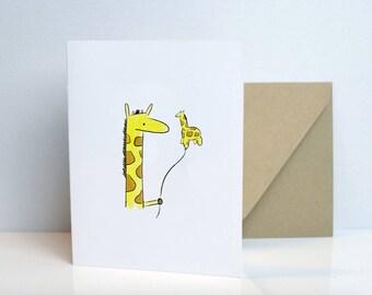 Giraffe Balloon - Blank Card
