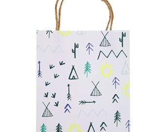Lets Explore,Party Bags,Small Gift Bags,Camp Themed Party,Party Gift Bags, Party Favor Bags,Camp Party Bags,Teepee Print Bags,Kids Gift Bags