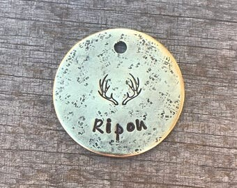 Dog Tag, Personalized Dog Tag, Antlers Dog Tag, Hand Stamped Dog Tag, Pet Id Tag, Custom Dog Tag, Pet Supplies, Metal Hounds Dog Tag